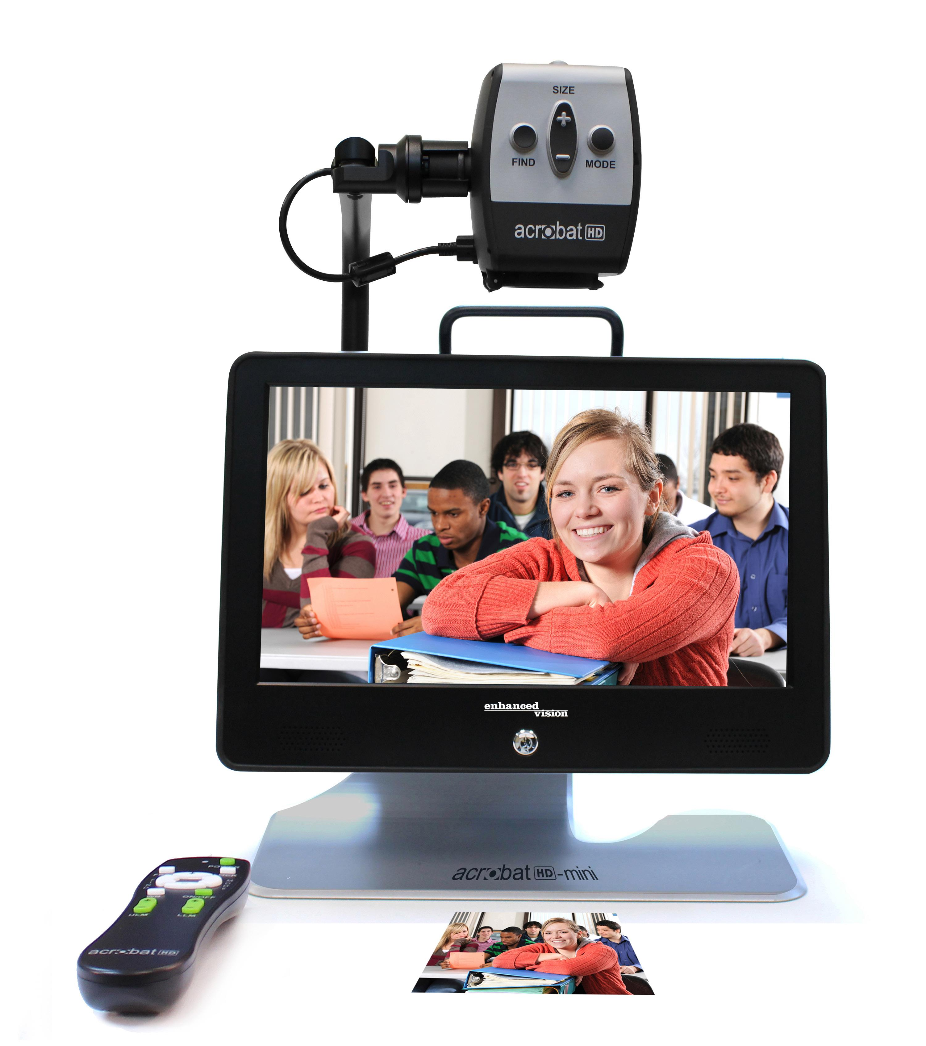 Acrobat HD Mini with remote looking at picthure of Teens in Classroom