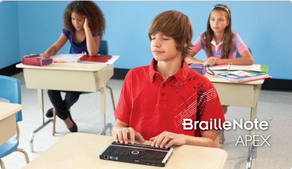 Student in school with BrailleNote Apex