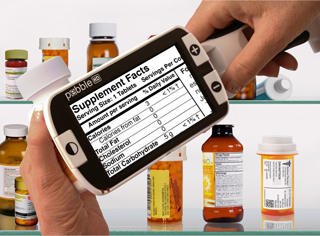 Pebble HD handheld video magnifier reading Pill bottles