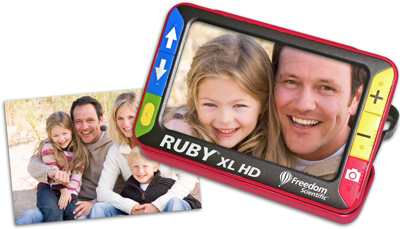 Ruby XL HD Hand Held Magnifier looking at photo