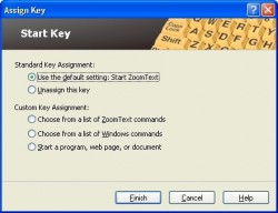 Screen shot of ZoomText Keyboard Start Key