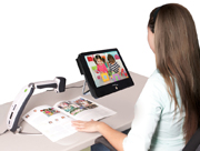 portable monitor with Transformer girl reading book