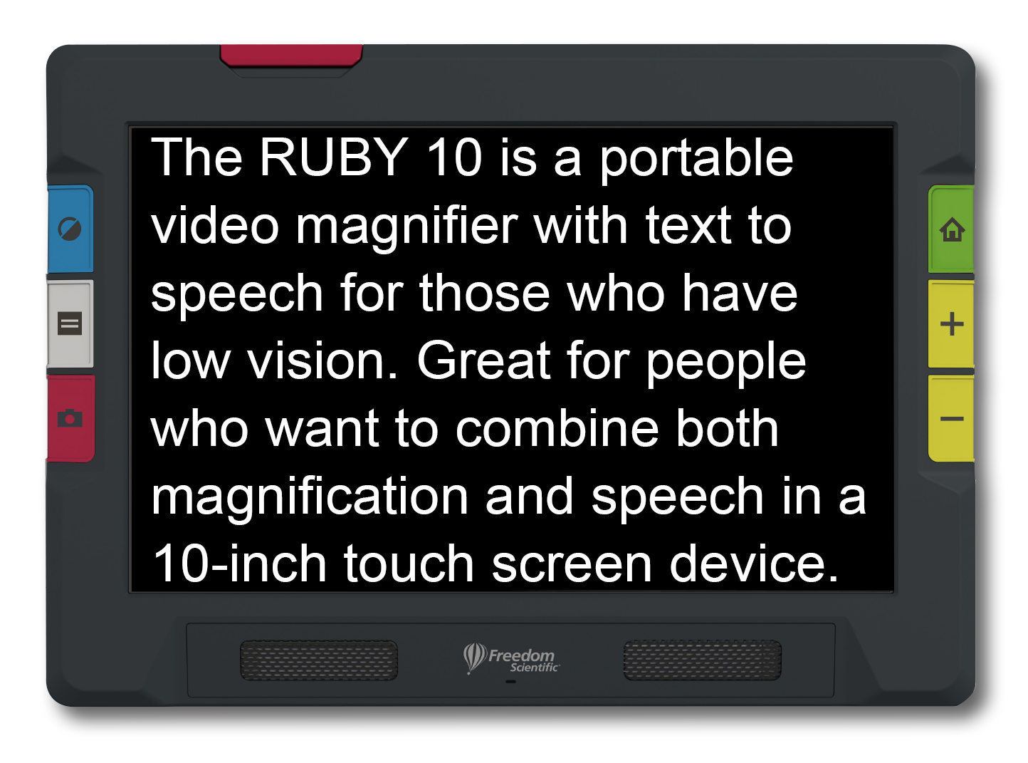 Ruby 10 showing text White on Black